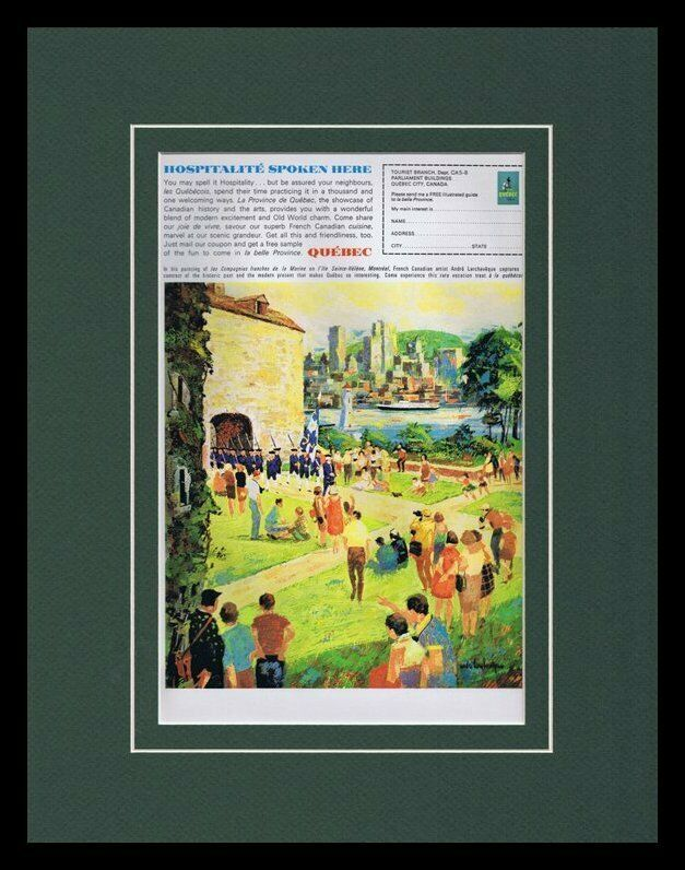 Primary image for 1963 Quebec Canada Travel Tourism Framed 11x14 ORIGINAL Vintage Advertisement