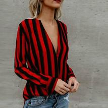 hirigin Women Autumn Blouse Long Sleeve V-Neck Casual Loose Striped Tops Blouse  - $26.00+