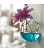 Transparent Wall Hanging Vase Glass Flower Pot Container Ball Home Garde... - $7.28