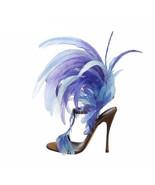 Unique design Blue Feather Women Sandals T strap Sexy Party Gladiator Sa... - $152.25
