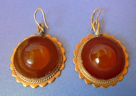 Vintage USSR jewelry Baltic Amber gems Drop Dangle Earrings Gold Plated ... - $69.00