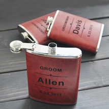 Personalized Engraved Hip Flask Stainless Steel Genuine Leather Funnel C... - $20.31