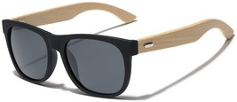Polarized Classic Horn Rimmed Sunglasses with Bamboo Wood Temples - $31.91