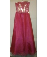 Sexy Women's Pink Spaghetti Strap Embellished Gown SIZE 9 - $26.91