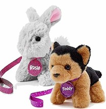 "Justice Pet Shop 6"" Plush Set of 2, Rosie Bunny and Dog Teddy German She... - $44.67"