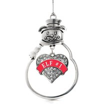 Inspired Silver Elf #1 Pave Heart Snowman Holiday Decoration Christmas Tree Orna - $14.69