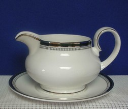 SARABANDE by Royal Doulton China GRAVY SAUCE BOAT & UNDERPLATE Black Ban... - $52.37