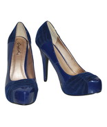 Qupid Deep Blue Stiletto Heel Platform Pointed Toe, Size 6 Pre-Owned - $12.00