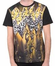 Versace Jeans Black Gold Cheetah Print Men's Graphic Tee EB3GIB790 NWT image 1