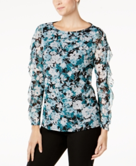 Primary image for Charter Club Floral-Print Ruffled-Sleeve Mesh Top, Small