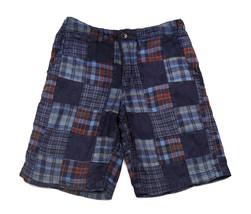 GAP kids Plaid Navy Blue Shorts Patchwork Quilt Squares Adjustable Waist... - $12.86
