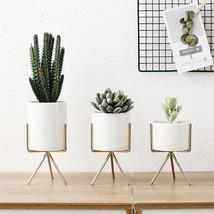 Ceramic Flower Planters Iron Shelf Succulent Plant Pot Home Decorative F... - $326,52 MXN+