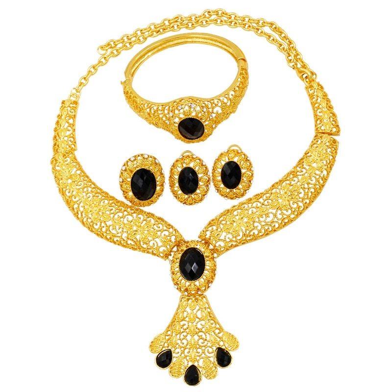 Ashion luxury 24 gold jewelry sets black crystal big necklace ring earrings charm bridal wedding