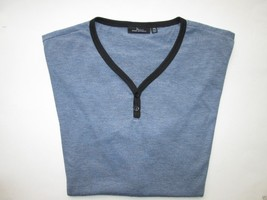 Marc Anthony V-Neck Short Sleeve Men's Henley T-Shirt Blue XXL MSRP $32 - $14.26