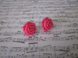 New! Handmade Pink Rose Flower Silver Tone Stud Post Earrings Free Ship - $8.08