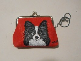 Papillon Dog Hand Painted Coin Change Purse with Key Chain Vegan Leather - $29.00