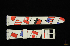 17mm Country Flags Soft PVC Replacement White watch Band Strap fit SWATC... - $8.15