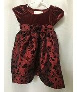 Beautiful Perfectly Dressed Girls Dress 12 mos. Toddler Holiday Burgundy... - $8.66