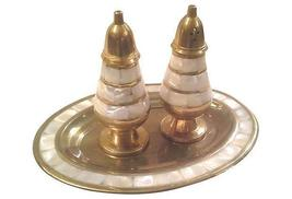 Vintage Brass Salt and Pepper Shaker and Tray  with Mother of Pearl Accents - $85.00