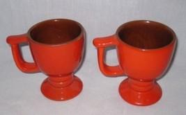 "WONDERFUL Pair Vintage 4 1/4"" FRANKOMA Flame Mugs - $34.65"