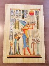 XXL Huge Signed Handmade Papyrus Egyptian King Akhenaten Art Painting..3... - $74.25