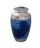 Extra Large Grecian Blue Companion Funeral Cremation Urn, 300 Cubic Inches