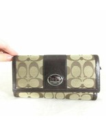 COACH Brown Signature Jacquard Canvas & Leather Tri Fold Wallet & Check ... - $35.00