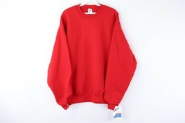 NOS Vtg 80s Jerzees Mens Large Blank Crewneck Sweatshirt Red Super Sweats USA - $34.60