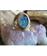 Vintage Sterling Silver Whitney Kelly Mosaic black opal band ring Size 5.5 - $30.00