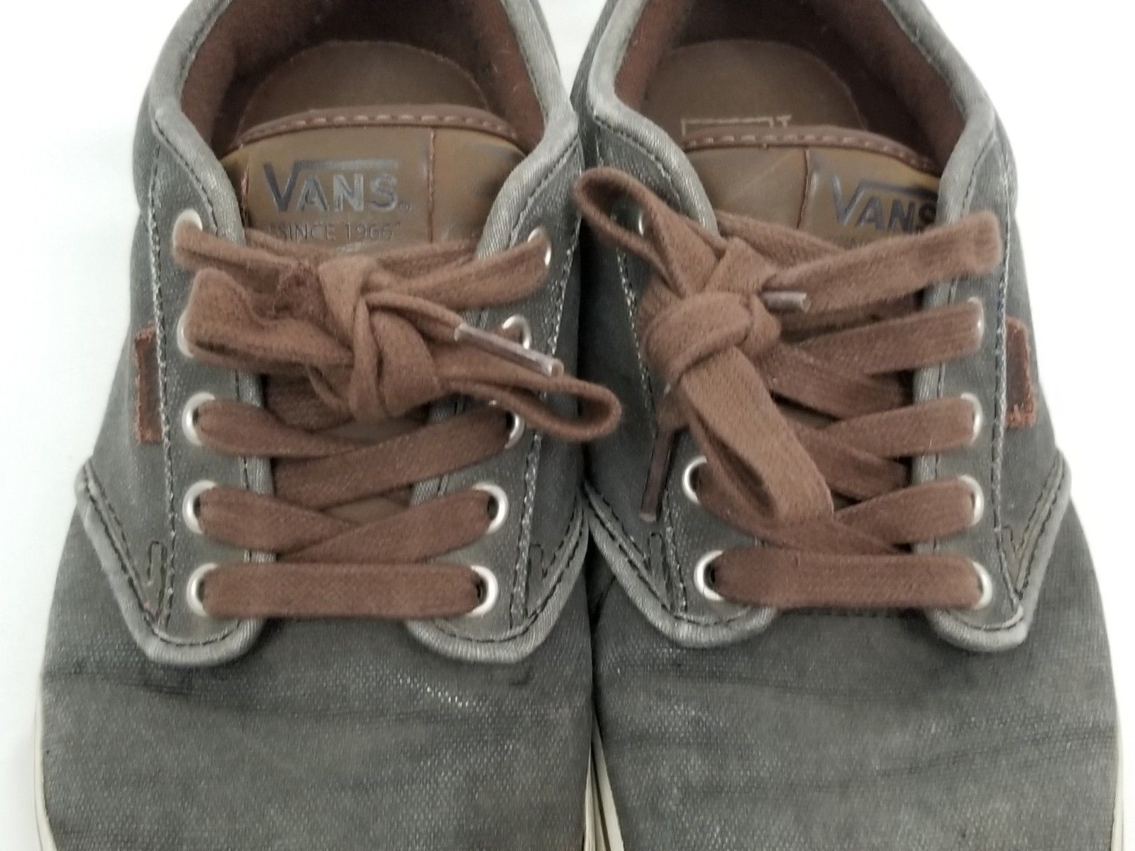 Mens Size 10 Gray Brown Vans Sneakers Shoes Lace Up 721356 image 3