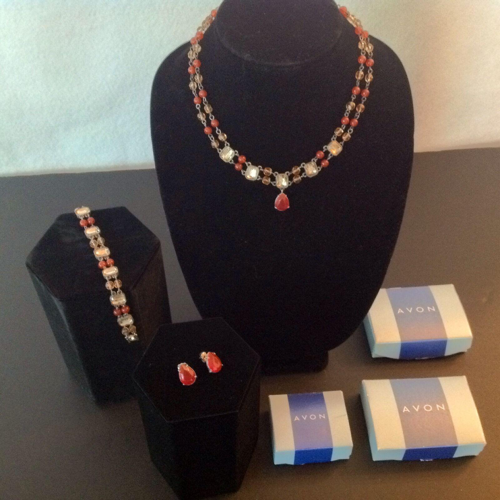 Avon Necklace Bracelet Earrings 3 Piece Set Signed Colored Stones 2002 Vintage