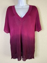 Chico's Womens Size 2 Fusha Ombre Knit Blouse Short Sleeve Deep V Neck - $19.80