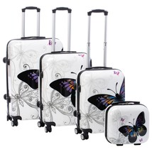 Luggage Ladies Butterfly 4-piece Hardside Spinner Set with TSA Lock - $283.12