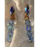 Vintage Lewis Segal Signed California Aurora Borealis Crystal blue earrings - $19.00