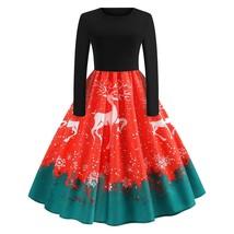 Christmas Reindeer Snowflake Print Vintage Dress(RED XL) - $23.08