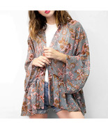 Ginga's Galleria Brown Queen Flower Ruffle Kimono Cardigan Cover Up - $26.25