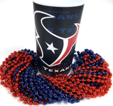 Houston Texans 22 oz Cup 12 Mardi Gras Beads Red Blue Tailgate Favor - $9.99