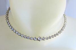 "Clear Rhinestone Choker Necklace 16"" Adjustable Silver Plate Prom Wedding  - $13.50"