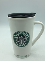 "Coffee Mug STARBUCKS 16 oz WHITE 2006 Ceramic 5.75"" Tall  with lid - $21.49"