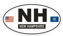 NH New Hampshire Oval Bumper Sticker or Helmet Sticker D785 Euro Oval with Flag - $1.39+