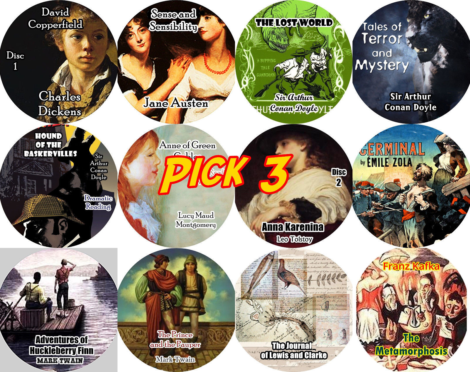 PICK ANY 3 Titles / CLASSICS LITERATURE Volume 3 / Mp3 (READ) CD Audiobooks