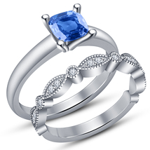 14k White Gold Plated 925 Silver Cushion Cut Blue Topaz Bridal Wedding R... - $87.65