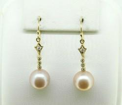 14k Yellow Gold 10mm Pink Pearl Dangle Earrings (#J4614) - $425.00