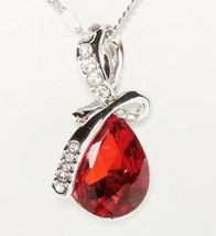 18K White Gold Plated Necklace w/Teardrop Swarovski Crystal - add a 2nd ... - $5.93