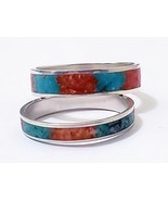 Turquoise Coral/Malachite twist of mother of pearl inlay Friendship ring... - €40,15 EUR