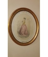 Henri Auguste Pingot Picture Lady in Waiting 1940 Gold Oval Frame Vintag... - $89.00