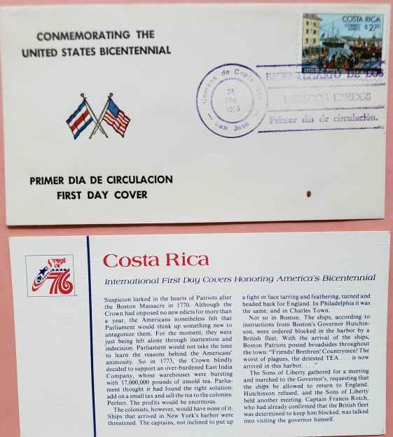 FDC Commemorating the United States Bicentennial Spirit of 76: Costa Rica