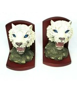 """White Tiger Resin & Wood Bookends Pair Set Heavy Vintage 7"""" Tall Blue Eyes - $45.50"""
