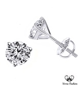 Solitaire Stud Earrings Sim Diamond 10K White Gold Plated 925 Sterling S... - £26.24 GBP