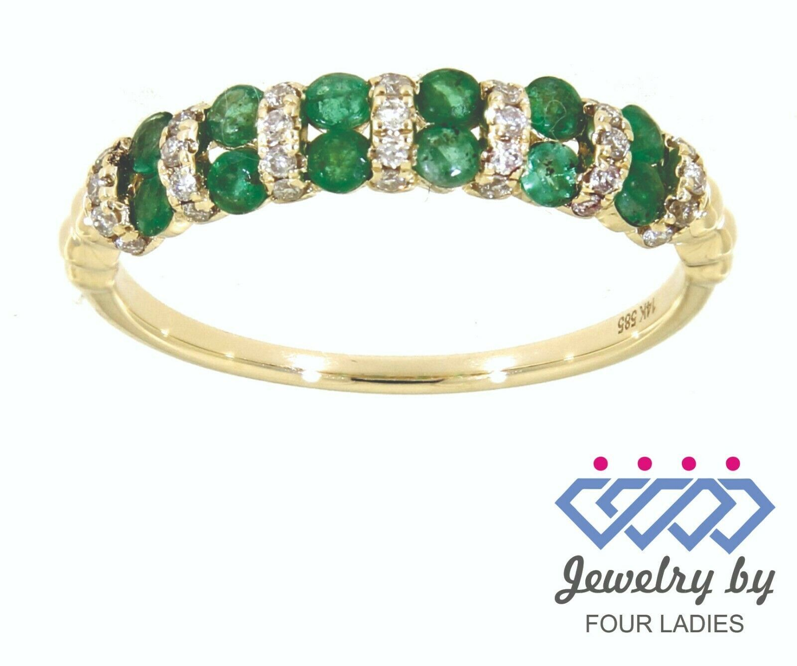 Primary image for Emerald Birthstone 14K Yellow Gold 0.40CT Real Natural Diamond Fine Ring
